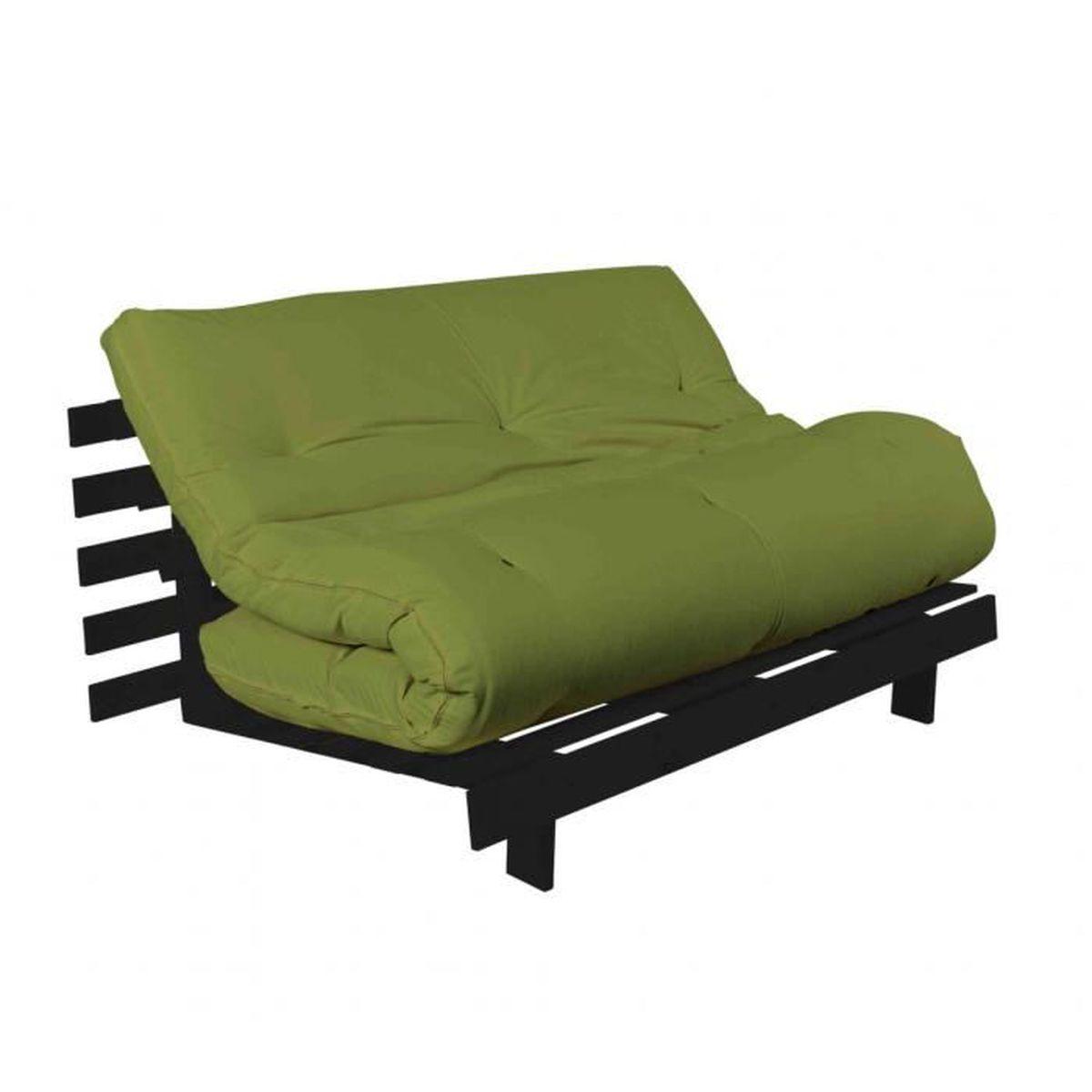 Pack futon matelas latex vert pistache structure en bois ...
