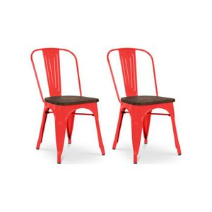 CHAISE Chaise design industriel LIVERPOOL Rouge (lot de 2