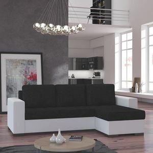 CANAPÉ - SOFA - DIVAN Canapé d'angle convertible noir et blanc EDUARDO 2