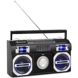 RADIO CD CASSETTE auna Oldschool Lecteur CD rétro avec Bluetooth USB