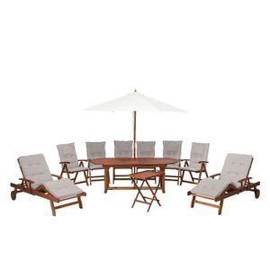 Ensemble de jardin en bois table ovale avec coussin gris ...