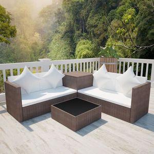 SALON DE JARDIN  Mobilier de jardin 4 pcs:2 x canapé à 2 places+1 x