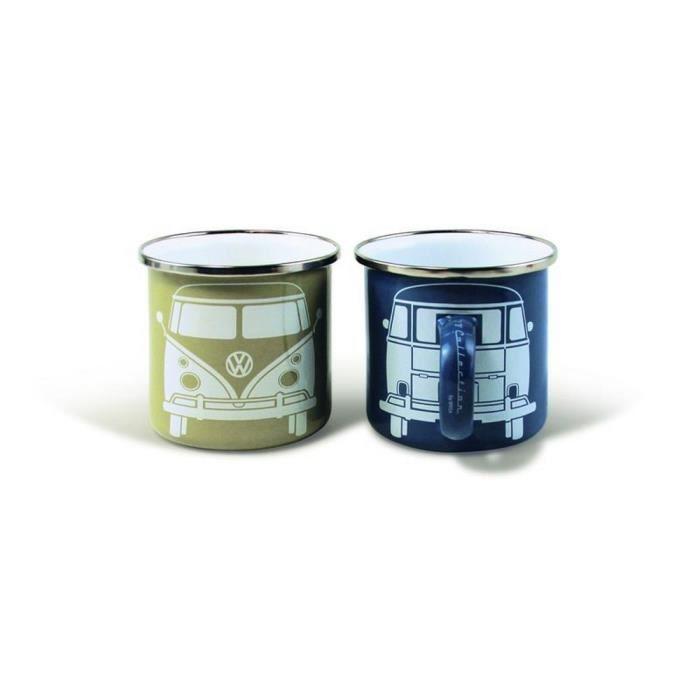 Set de 2 tasses à café (set of 2 coffee mug) en métal VW Volkswagen T1 BULLI beige et bleue