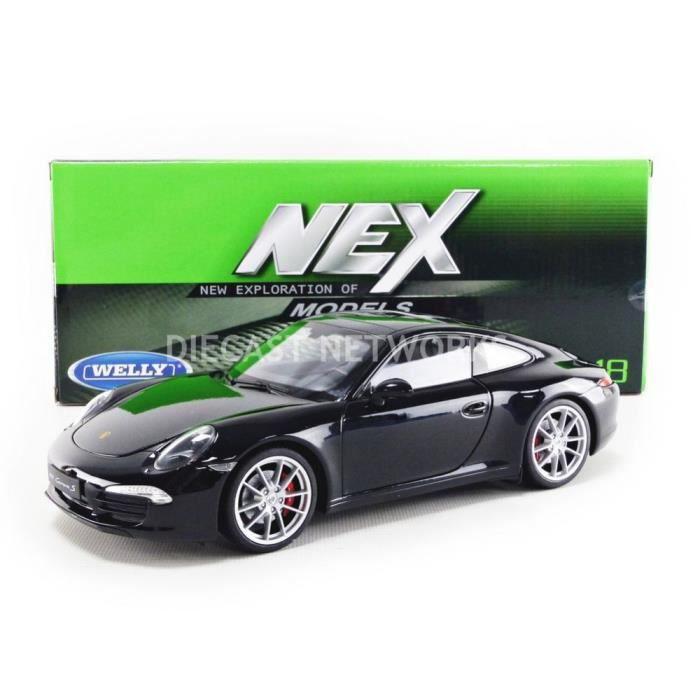 Voiture Miniature de Collection - WELLY 1/18 - PORSCHE 911 / 991 Carrera S - 2012 - Black - 18047BK