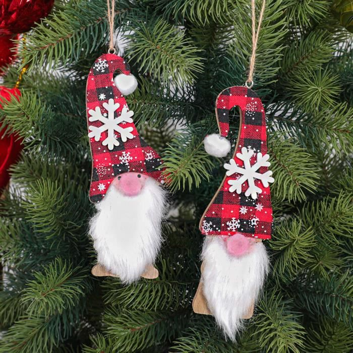 2PC Christmas Ornaments Gift Santa Claus Snowman Toy Doll Hang A1198
