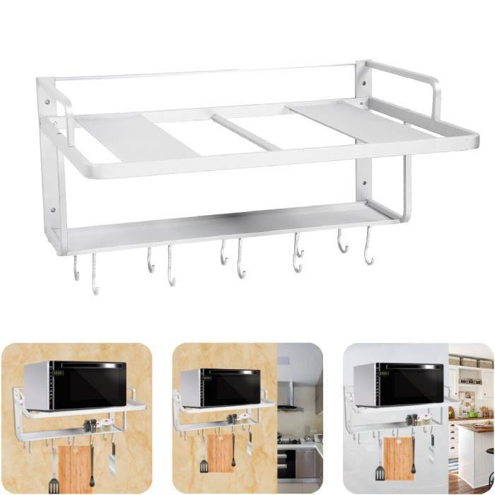 Espace En Aluminium Double Couches Suspendues Four À Micro-ondes Rack Support Cuisine Étagère De Rangement Organisateur -YES