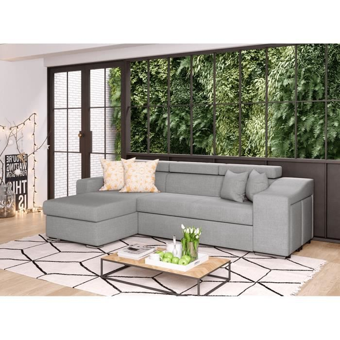 Canapé d'Angle ELONA Convertible en Tissu Gris