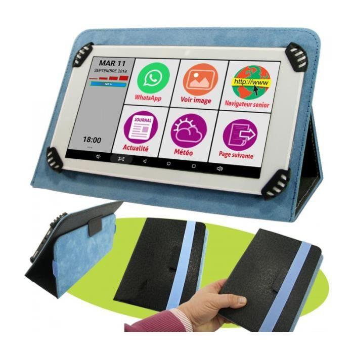 La Tablette Initiale 7P bleue avec pochette de protection bleue, l'essentiel pour bien débuter, une interface sénior sur mesure