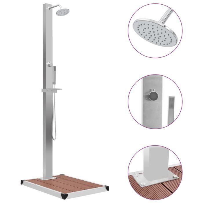 Douche solaire Douche d'extérieur avec receveur de douche WPC Acier inoxydable
