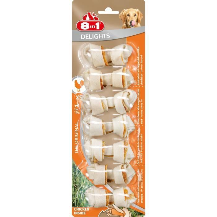 8in1 Os à mâcher au poulet Delights XS - 7 pièces - Pour chien - Carton de 6 sachets