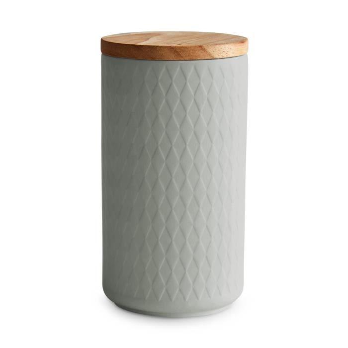 Boîte de conservation en céramique avec couvercle en bois, gris clair, 10,1 x 18,3 cm