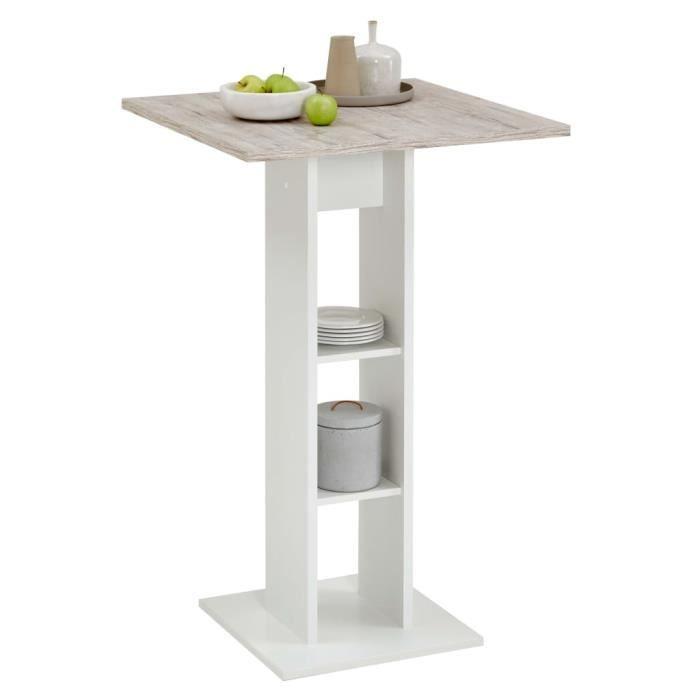 CHIC Table de bistro, Table de bar de rangement, table de café, Blanc et chêne sable 70 x 70 x 109 cm 2171