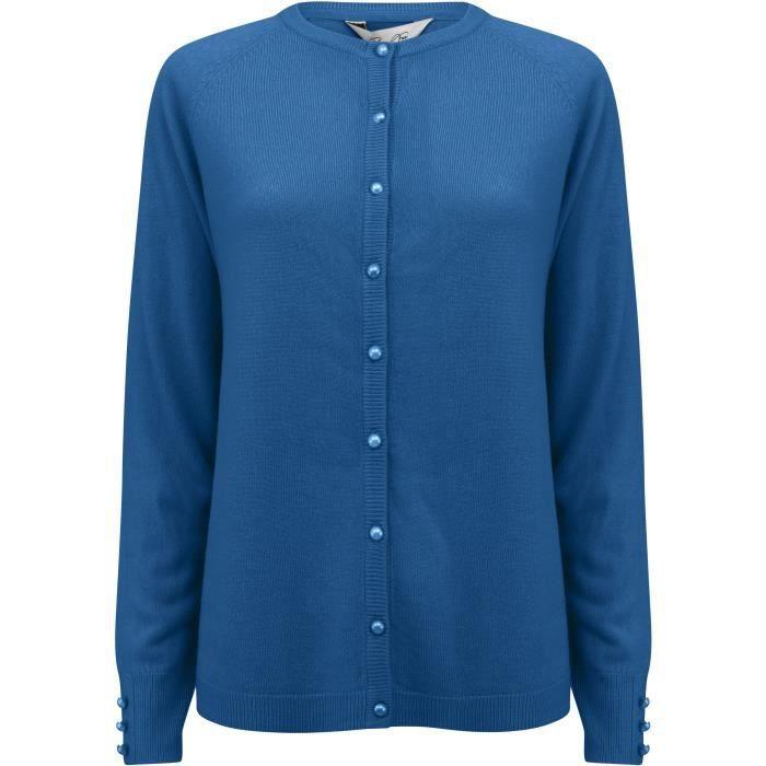 PLUM TREE Cardigan Bouton Uni Col Rond Bleu Femme