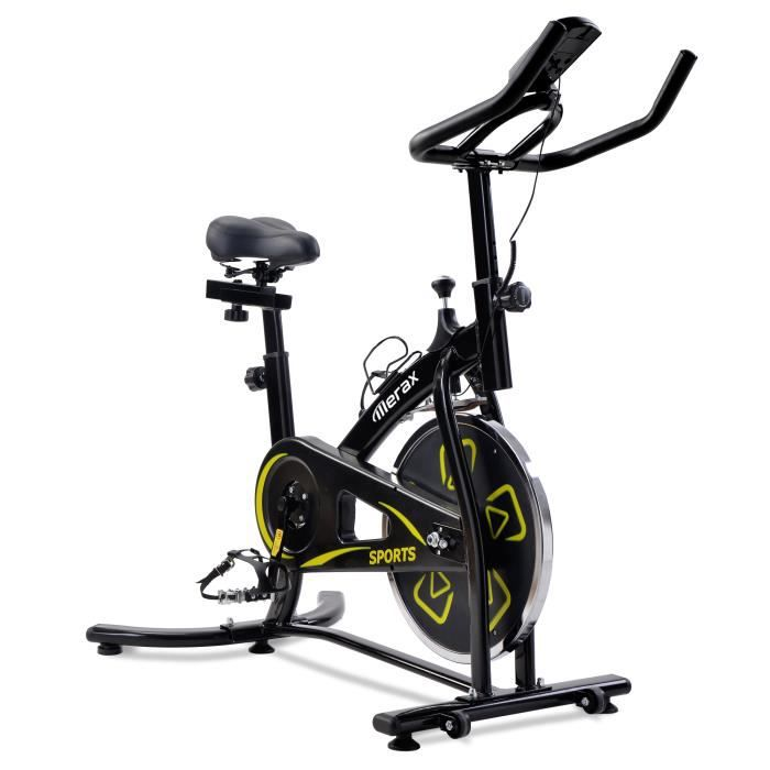 Merax vélo d'appartement spinning réglable cardio fitness, vélo biking avec volant d'inertie 8 kg, écran lcd, jaune