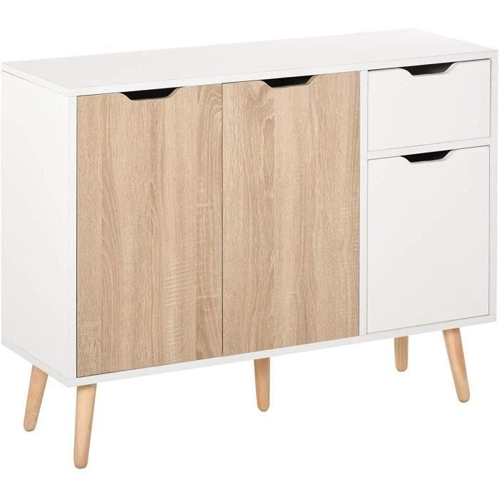 Buffet design scandinave 2 placards tiroir coulissant pieds bois massif pin panneaux particules blanc chêne clair133