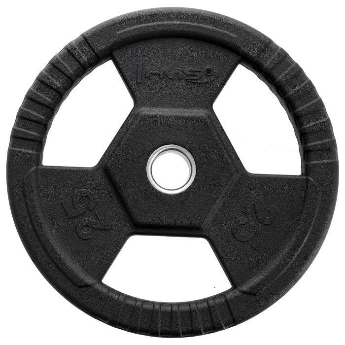 HMSPORT - Disque de poids Olympique noir en caoutchouc 25 kg - Entrainement de force - Équipement sportif - Musculation Sport - Noir