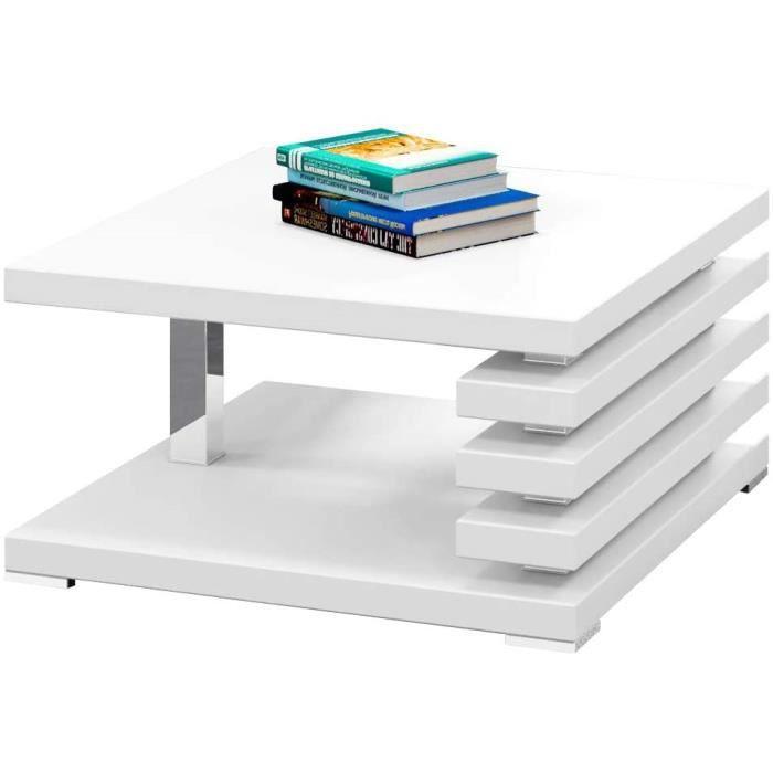 526>Selsey ARIENE - Table Basse Design (Blanc Mat, 60x60 cm)