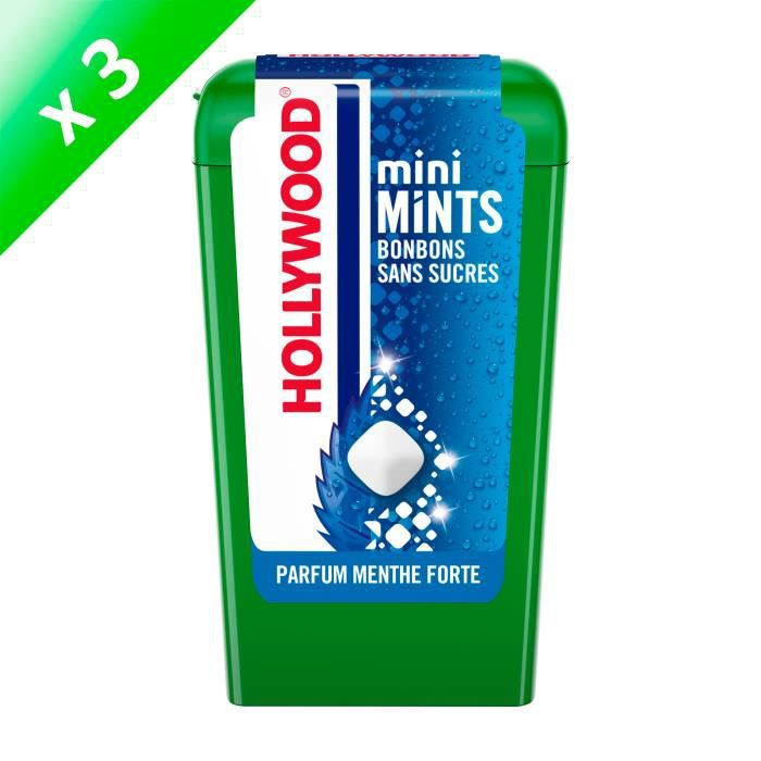 Hollywood Mini Mints Bonbons parfum Menthe Forte 12,5g - LOT DE 3