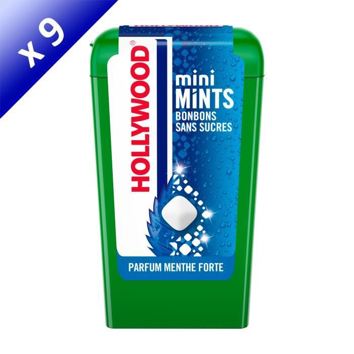 [LOT DE 9] Hollywood Mini Mints Bonbons parfum Menthe Forte 12,5g