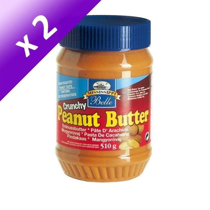 MISSISSIPI BELLE Beurre de Cacahuètes Crunchy - 510 g (Lot de 2)