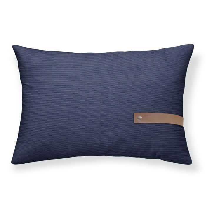 TODAY Coussin Chambray déhoussable Cabane de Plage - 30x50 cm - Bleu atlantic