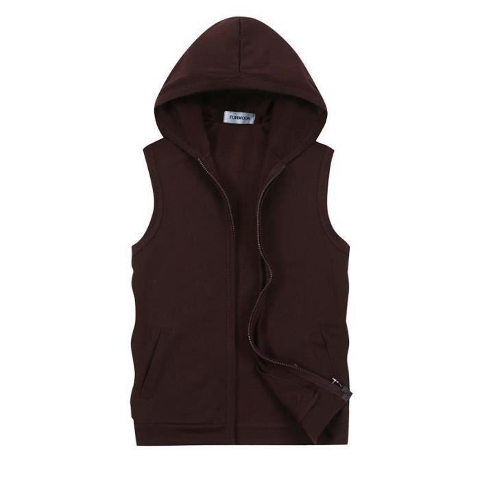 Sweat-Shirt Capuche Sans Manches Homme Veste En Jeans Sans Manches Homme Gilet Sans Manches Homme,Café,XXL