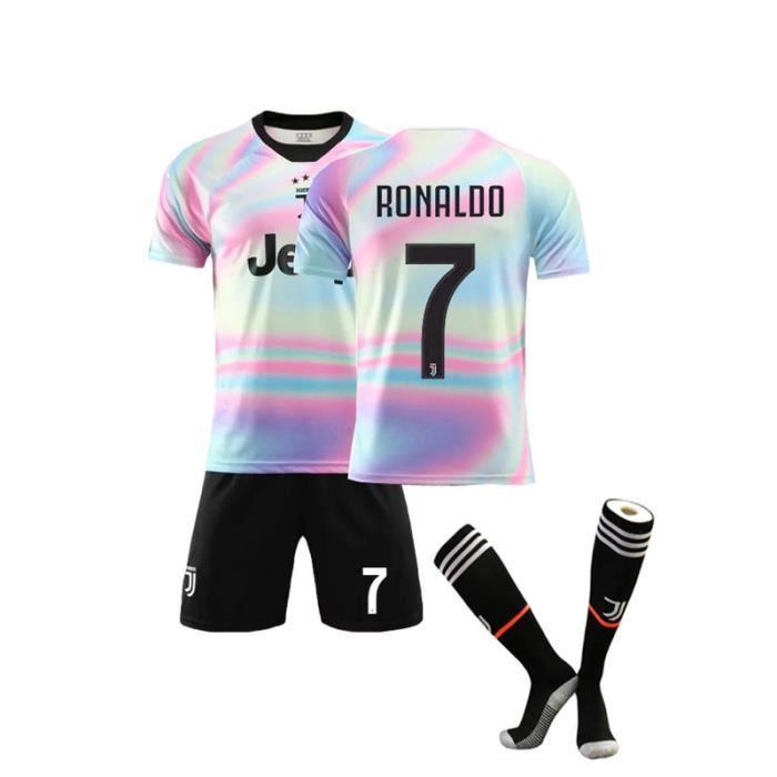 Cristiano Ronaldo NO.7 Juventus 19/20 Maillots Foot et Shorts de football + Chaussettes Homme