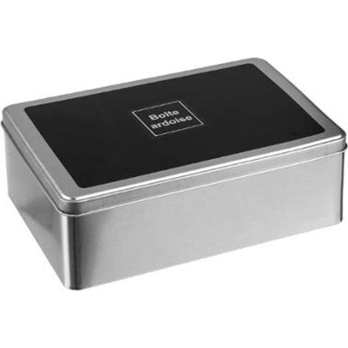 Boîte à Sucre en Métal -Ardoise- 20cm Argent