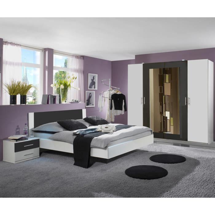 Chambre adulte coloris blanc-anthracite 160 X 200 cm