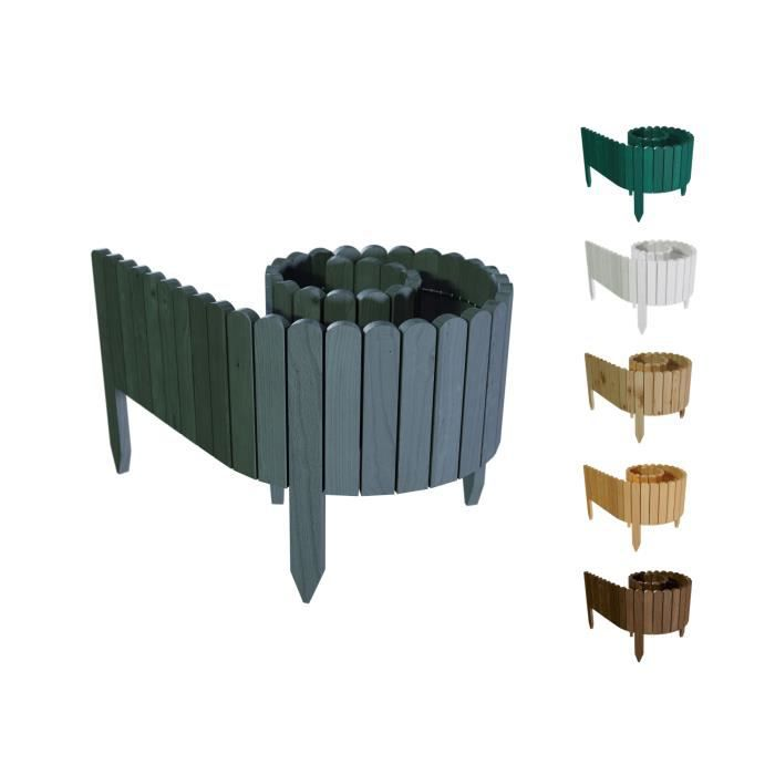 Floranica® Bordure déroulable en bois - 203 cm - Hauteur: 40cm - Anthracite - délimitation de plates-bandes - imprégnée
