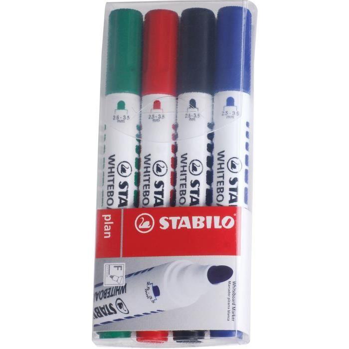 STABILO Plan - 4 marqueurs effaçable à sec - pointe ogive