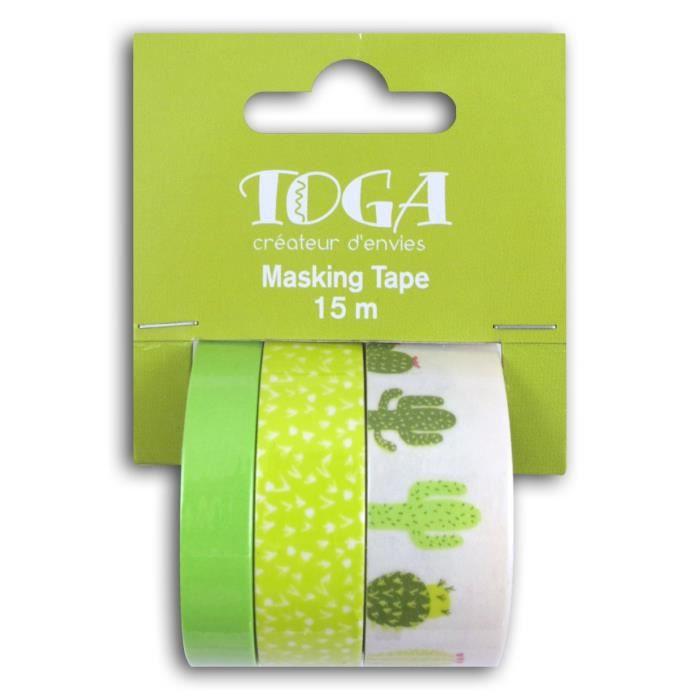 TOGA Lot de 3 rouleaux masking tape – Cactus vert blanc – 5 m
