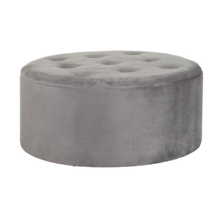 Pouf coffre rond Tissu capitonné gris - CHULIO - L 90 x l 90 x H 40