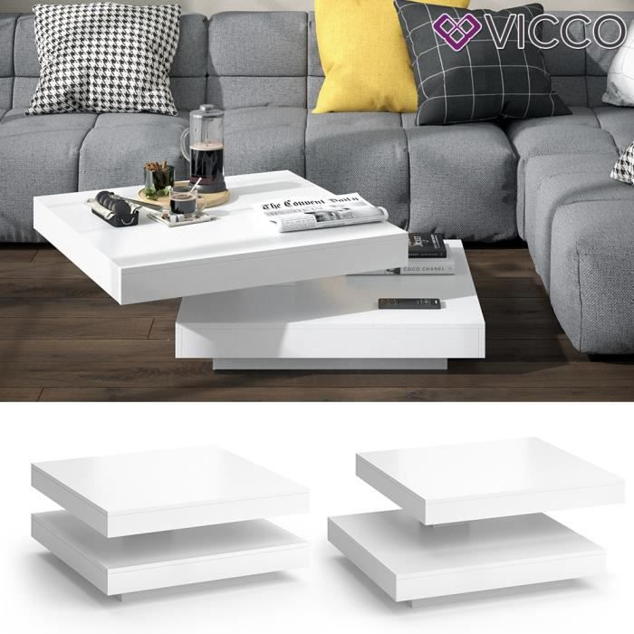 Table basse VICCO ELIAS, pivotante à 360°, 70 x 70 x 34 cm, table de salon, table