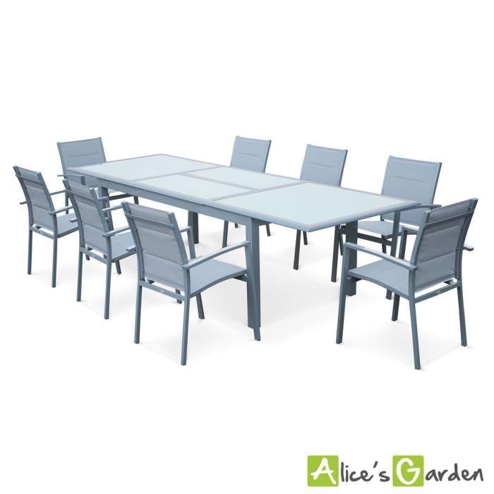 Salon de jardin 8 fauteuils table à rallonge extensible 200 ...