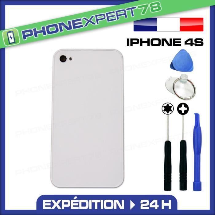 vitre arriere iphone 4s blanc sans logo outils
