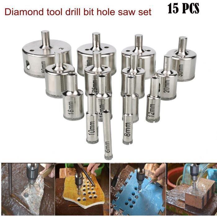 10Pcs 5-12 mm Diamond Coated Core Forets trou scie Verre Carrelage Céramique Marbre