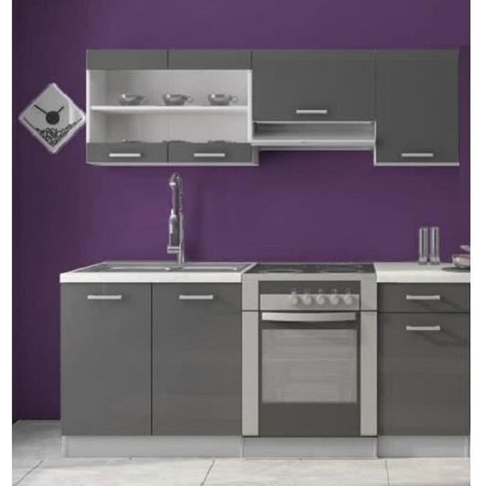cuisine complete dana 1m80 6 meubles gris laqu achat vente cuisine compl te cuisine. Black Bedroom Furniture Sets. Home Design Ideas