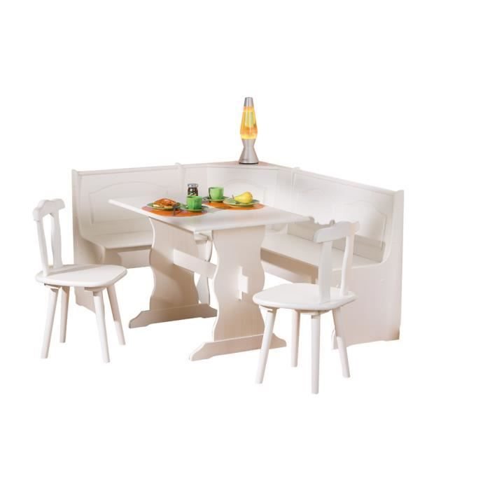 Laurie angle repas complet en pin massif achat vente for Table cuisine en pin