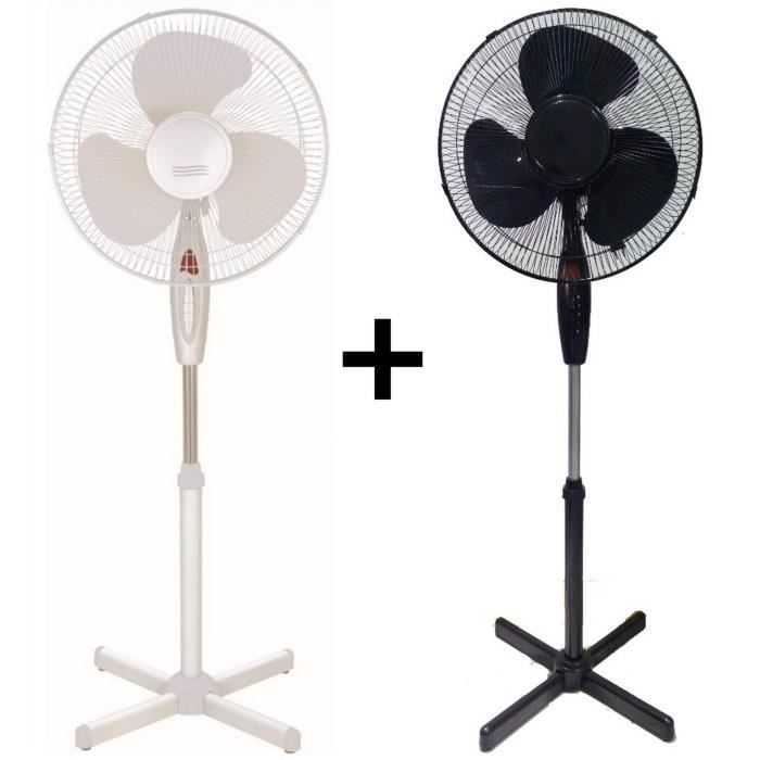 lot de 2 ventilateurs sur pied blanc et noir 40 cm stand fan achat vente ventilateur lot de. Black Bedroom Furniture Sets. Home Design Ideas