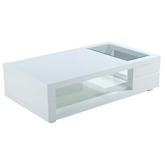 Table basse rectangulaire 120cm en mdf laqu coloris blanc - Table basse rectangulaire blanc laque ...