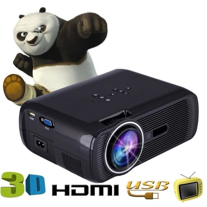 1000 lumens 800 480 r solution hd portable projecteur led 3d home cinema theater pc support. Black Bedroom Furniture Sets. Home Design Ideas