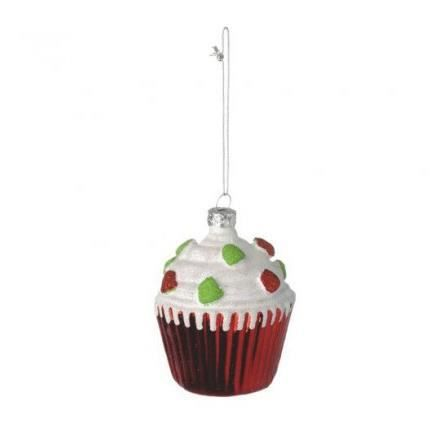 Boule de noel cup cake rouge achat vente d coration de for Achat decoration de noel