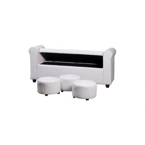 banquette bout de lit et poufs blanc achat vente. Black Bedroom Furniture Sets. Home Design Ideas
