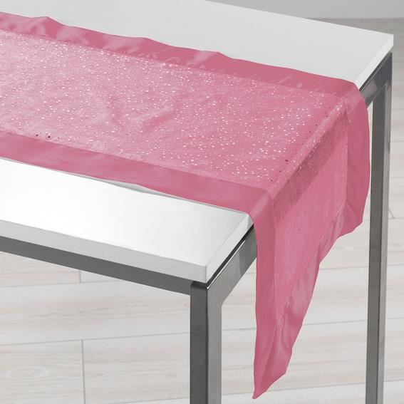 chemin de table organza imprim et satin festille 40x140 cm rose achat vente chemin de table. Black Bedroom Furniture Sets. Home Design Ideas