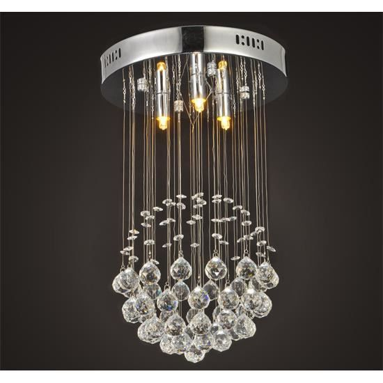 Lustre cristal lampe suspension plafonnier de plafond for Lustre en suspension