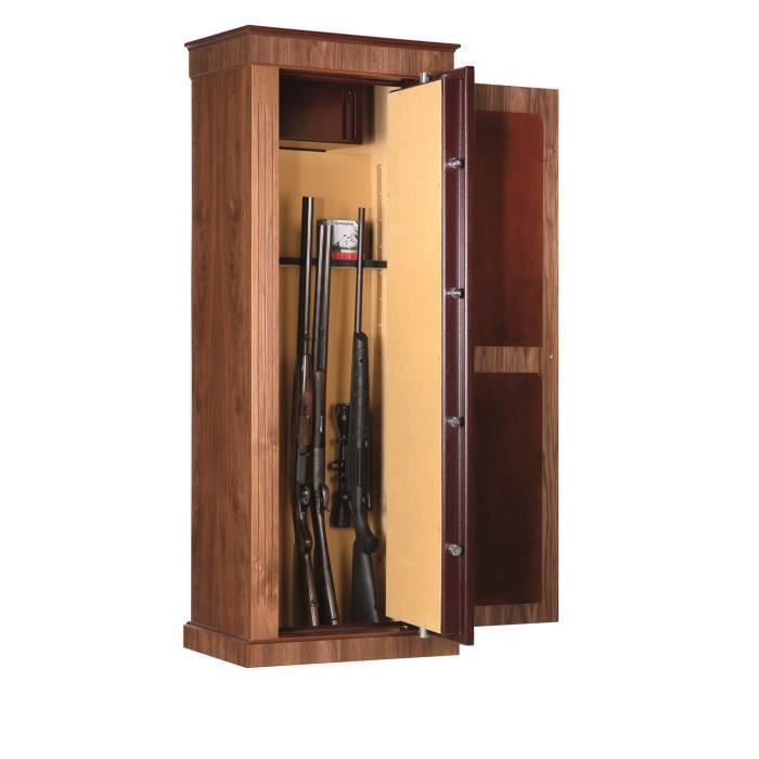 armoire fusils 8 armes avec compartiment s curis bois noyer achat vente armoire fusil. Black Bedroom Furniture Sets. Home Design Ideas