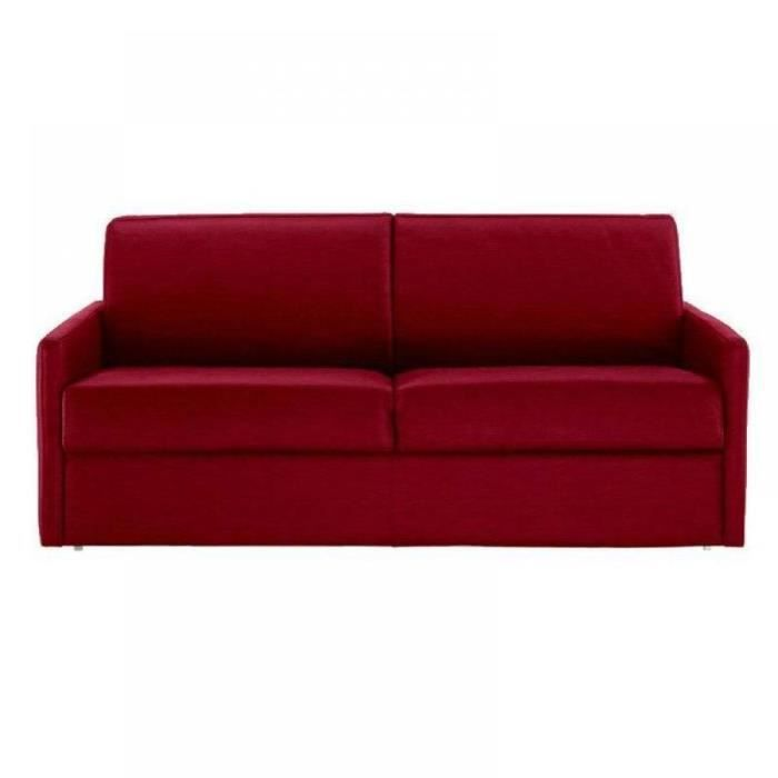 Canap lit 2 3 places sun convertible rapido 120cm tissu tweed rouge acha - Lit 1 place convertible 2 places ...