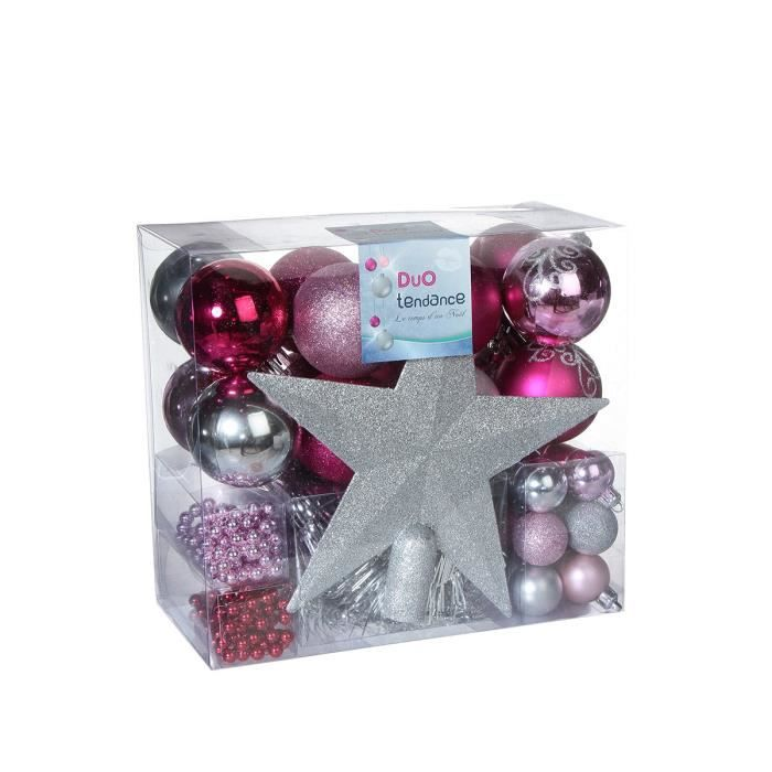 Kit de d coration de sapin rose fushia achat vente for Decoration de noel rose