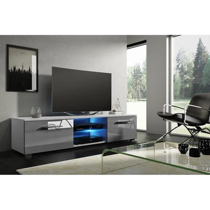 MEUBLE TV Meuble TV coloris blanc mat - gris laqué avec led